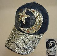 Denim Hat with Bling [Moon & Star] Colored Gems